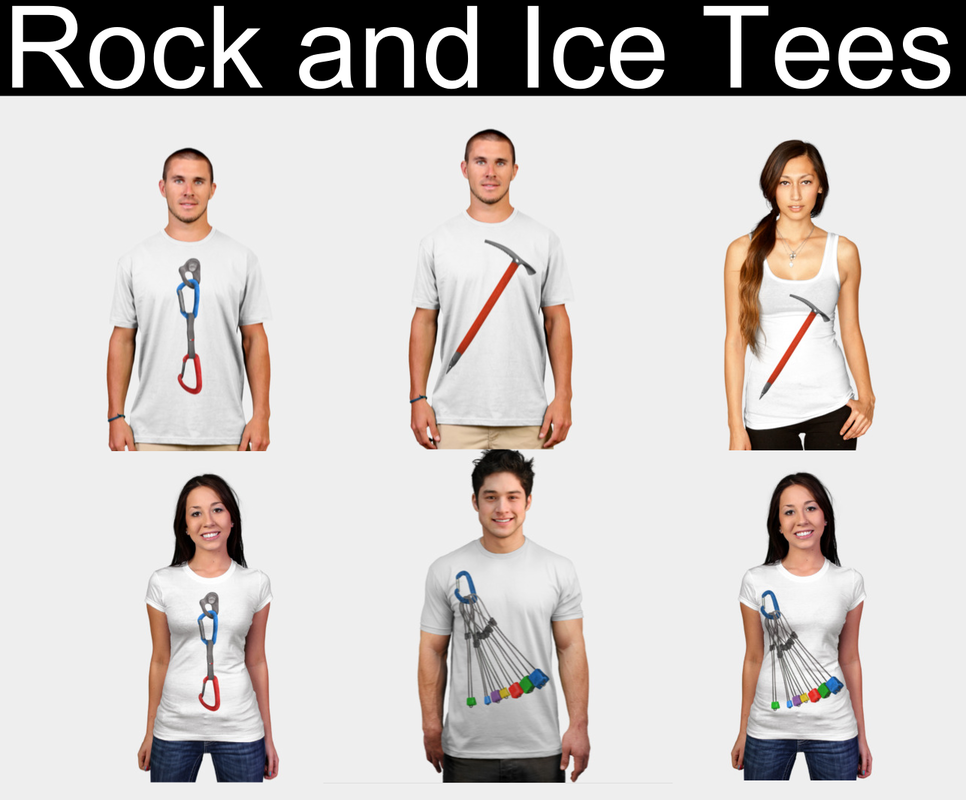 rock climbing and mountaineering tshirts.  Climbing wires and ice axe tshirt