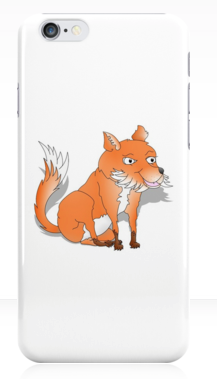 fox, fox cub, orange fox, bush tail, fox with bushy tail, bushy tailed, cartoon fox, happy fox, smiling fox, sly fox, white chest, white fox, orange and white fox, iPhone case
