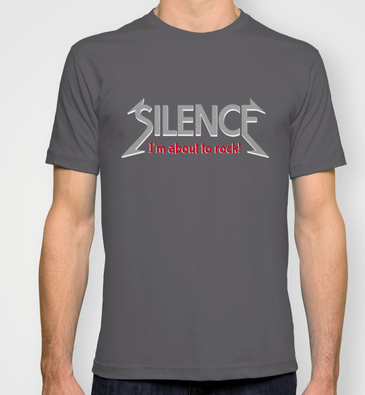 silence, im about to rock, quiet, heavy metal, be quiet, geek, cool geek, rock n roll, funny, humour, library humour, books, album cover, album cover art, typography, rock music, music, shirt, t-shirt