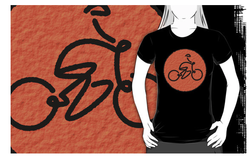 bike, bicycle, road bike, cycling, roundel, orange circle, bike race, bicycle race, riding, stick man
