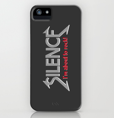 silence, im about to rock, quiet, heavy metal, be quiet, geek, cool geek, rock n roll, funny, humour, library humour, books, album cover, album cover art, typography, rock music, music, iPhone case