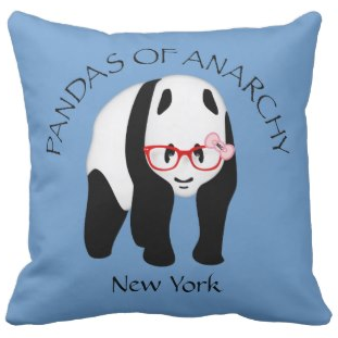 Panda wearing glasses Anarchy Throw Pillows by Piedaydesigns