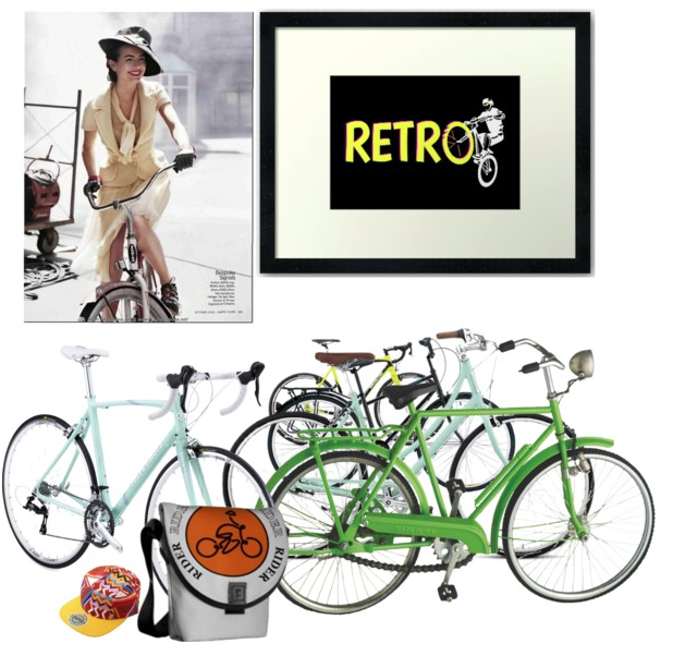 bikes, cycling, retro bikes, bicycles, polyvore, lady riding a bike, model riding a bike