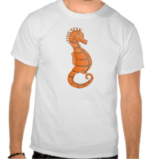 Orange seahorse with curled tail shirt by mailboxdisco  Create tshirt at Zazzle