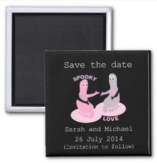 Picture fridge magnet zazzle customizable Spooky love save the date by mailboxdisco