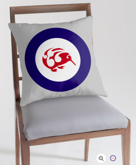 pillow, throw pillow, cushion, roundel, flag, airforce, kiwi, national bird, small bird, new zealand bird, koru, maori design, maori art, red white and blue, red bird, stylised bird, circles
