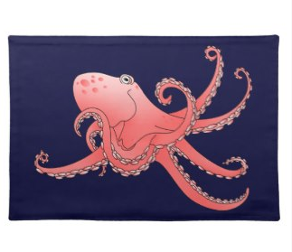 octopi, octopus, orange octopus, smiling octopus, under the sea, place mats