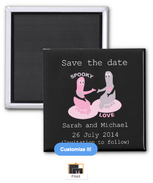 save the date, wedding, to follow, ghosts, ghost, goth, gothic, gothic wedding, footprints, gothic save the date, love, cute, cute ghost, magnet