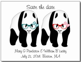 Pandas wearing glasses save the date wedding love