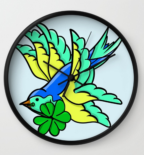 swallow, sparrow, blue swallow, swallow tattoo, traditional tattoo, sailors tattoo, shamrock, luck, lucky, four leaf clover, clover, st. patrick's day, saint patrick's day, st. paddy's st paddy, saint paddy, cartoon, flying, flight