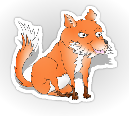 sticker, t-shirt, fox, fox cub, orange fox, bush tail, fox with bushy tail, bushy tailed, cartoon fox, happy fox, smiling fox, sly fox, white chest, white fox, orange and white fox