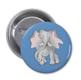 Happy cartoon African elephant Button by mailboxdisco
