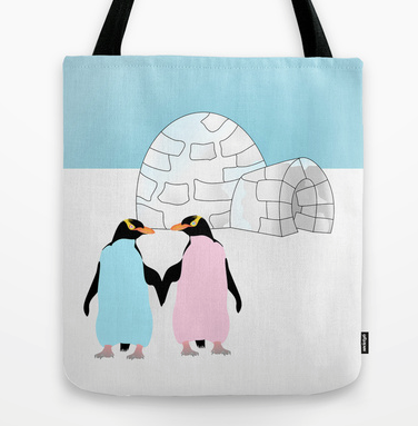 tote bag, yellow eyed penguins, hoiho, new zealand, new zealand birds, igloo, ice, love, pink penguin, blue penguin, penguins holding hands, penguins in love, love birds, antarctica, penguin, penguins, cold, cold places, holding hands