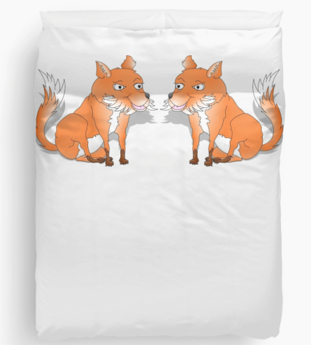 fox, fox cub, orange fox, bush tail, fox with bushy tail, bushy tailed, cartoon fox, happy fox, smiling fox, sly fox, white chest, white fox, orange and white fox, duvet cover