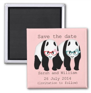 save the date, panda, wedding,Pandas wearing glasses save the date by Piedaydesigns