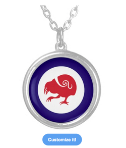 Necklace, roundel, flag, takahe, flightless bird, new zealand bird, koru, maori, red white and blue, stylised bird, air force, airforce, maori design, red bird, custom jewelry