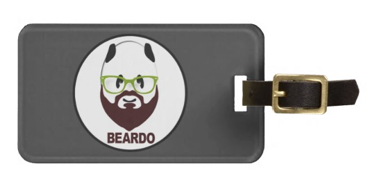 beard, wierd, beardo, whiskers, mustache, panda, bear, bear wearing glasses, black and white, funny, weirdo, hairy, panda waring glasses, humorous, Travel Bag Tags